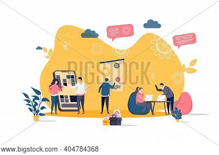 Coworking Concept In Flat Style. Team Members Together Work In Coworking Space Scene. Workspace For