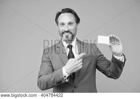 Professional Auditor Man In Formal Suit. Confident Male Manager. Place For Copy Space. Ceo In Office