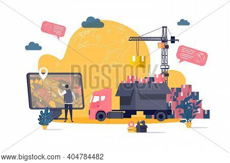 Logistics Concept In Flat Style. Warehouse Worker Planning Route On Computer Scene. Express Delivery