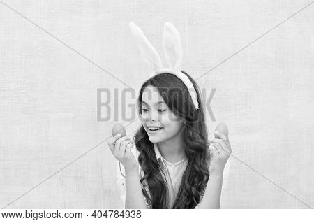 Easter Eggs. Origin Of Easter Bunny. Easter Symbols And Traditions. Playful Child With Dyed Eggs. Me