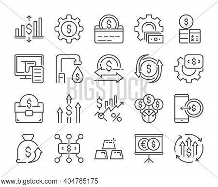 Finance Analytics Icon. Finance Management Line Icons Set. Vector Illustration. Editable Stroke.