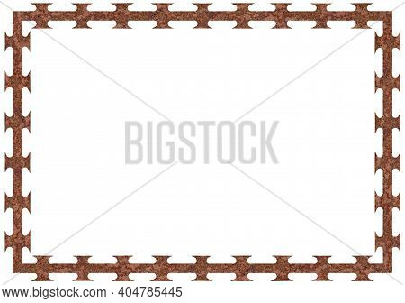 Rusty Barbed Razor Wire Tape Frame, Large Detailed Isolated Textured Horizontal Corroded Macro Close