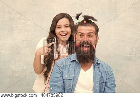 Daughter Playing With Hair. Ideas To Entertain Kids During Quarantine. Happy Childhood. Upbringing H