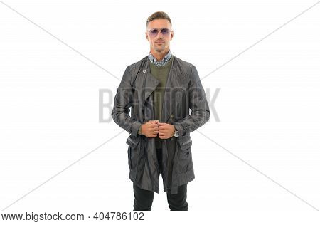 Looking So Trendy. Mens Beauty. Mature Handsome Man With Hairstyle In Coat. Confident Businessman We