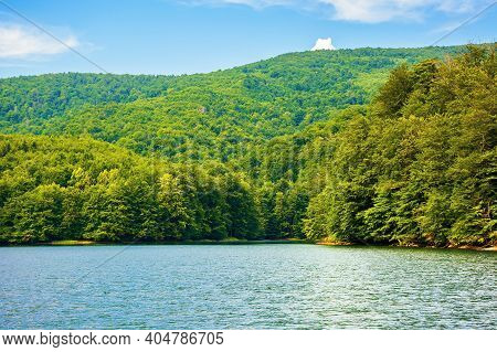 Lake Among Beech Forest In Summer. Beautiful Nature Landscape In Mountains. Vihorlat National Park O