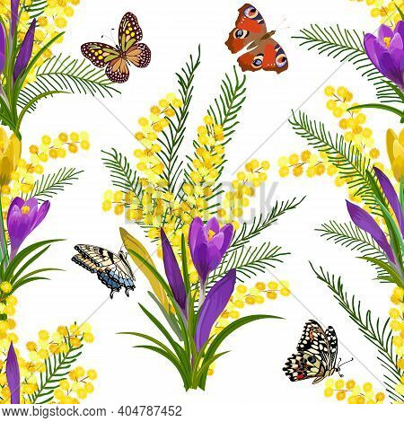 Crocuses And Mimosa In A Color Pattern.colored Seamless Pattern With Crocuses, Mimosa And Butterflie