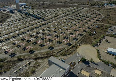 Aerial View Of The Plataforma Solar De Almería  Tabernas Spain
