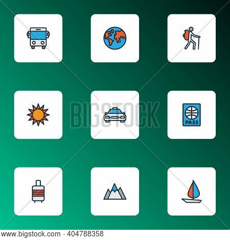 Journey Icons Colored Line Set With Baggage Suitcase, Taxi, Bus And Other Autobus Elements. Isolated