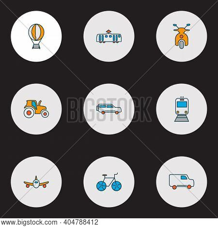 Transit Icons Colored Line Set With Scooter, Suv, Tractor And Other Airship Elements. Isolated Vecto