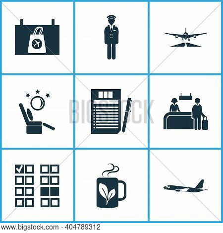 Airport Icons Set With Duty Free Sign, Airport Worker Man, Tax Free Return Board And Other Teacup El