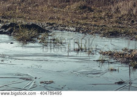 The Puddle And Swamp Are Covered With Ice. Ice And Frost Bound The Swamp And Mud. Landscape In A Sno