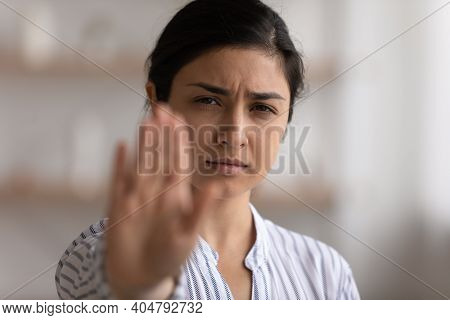 Desperate Indian Woman Showing Stop To Racial Gender Discrimination