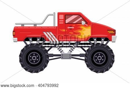 Modern Red Monster Truck Vehicle With Flames Of Fire On The Side. Vector Flat Illustration