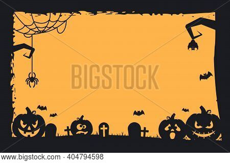 Grunge Halloween Frame With Pumpkins, Bats, Cemetery And Spiders. Copy Space. Vector Illustration