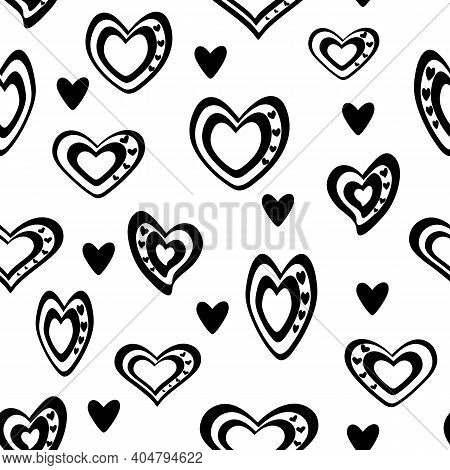 Seamless Vector Pattern. Stylized Black And White Hearts Mixed With Black Hearts Are Scattered. On A