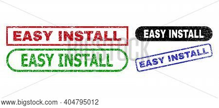 Easy Install Grunge Watermarks. Flat Vector Grunge Stamps With Easy Install Title Inside Different R
