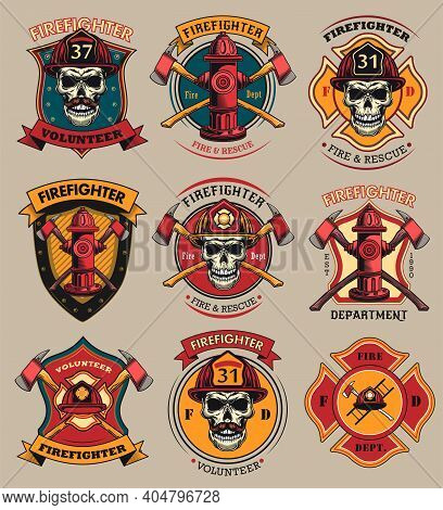 Firefighter Patches Set. Badges With Skulls In Helmets, Axes, Hydrant, Red Heraldry With Ribbons. Co