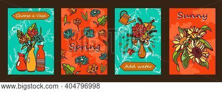 Flowers Posters Set. Bunches In Vases, Blossoms Vector Illustrations With Text On Orange And Green B