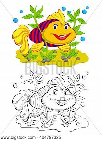 Colorful And Black And White Page For Coloring Book. Illustration Of Cute Toy Goldfish. Printable Wo