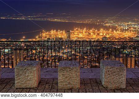 Haifa View At Night From The Louis Promenade