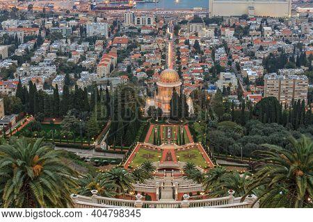 Evening View Of The Bahai Garden And Haifa, Israel