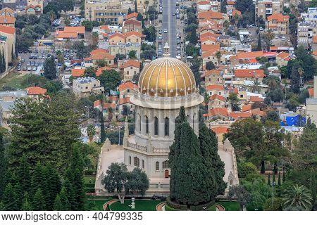 Top View Of The Bahai Garden And Haifa, Israel