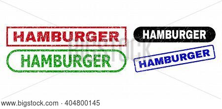 Hamburger Grunge Seal Stamps. Flat Vector Grunge Stamps With Hamburger Phrase Inside Different Recta
