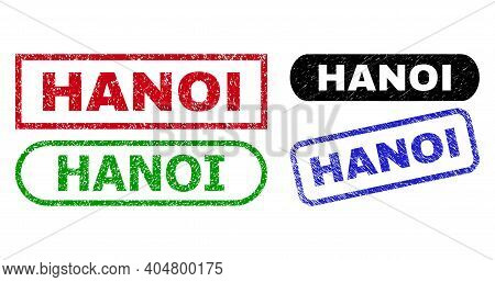 Hanoi Grunge Stamps. Flat Vector Grunge Seal Stamps With Hanoi Title Inside Different Rectangle And