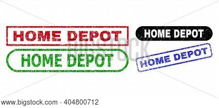 Home Depot Grunge Stamps. Flat Vector Distress Stamps With Home Depot Text Inside Different Rectangl