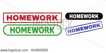 Homework Grunge Seals. Flat Vector Distress Seals With Homework Phrase Inside Different Rectangle An