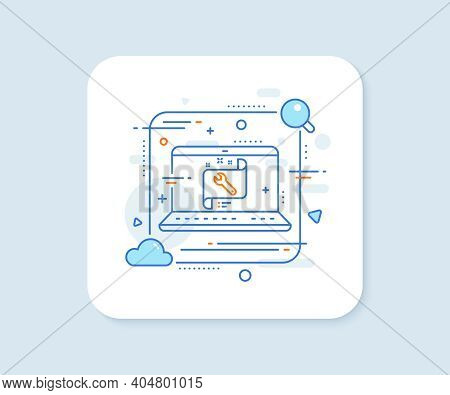 Spanner Tool Line Icon. Abstract Vector Button. Repair Service Blueprint Sign. Fix Instruments Symbo