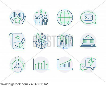 Education Icons Set. Included Icon As Creativity, Ranking, Meeting Signs. Court Building, Messenger,