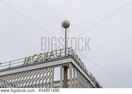 Berlin, Germany - July 30, 2019: Cafe Moskau Building In Karl-marx-allee In East Berlin.