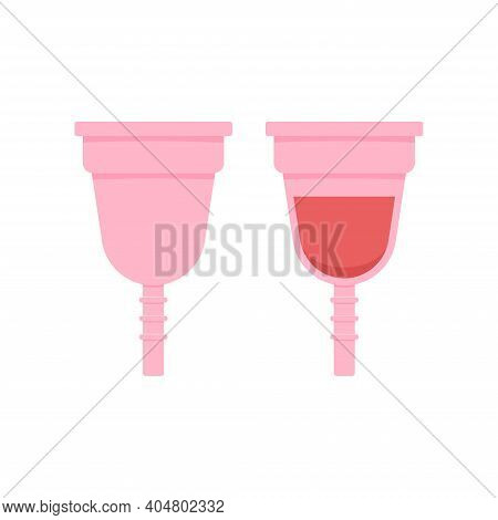 Menstrual Cup With Menstruation Blood And Clean Icon Set Isolated On White Background. Female Menstr