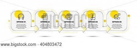 Refrigerator, Online Shopping And Headphones Line Icons Set. Timeline Process Flowchart. Metro Subwa