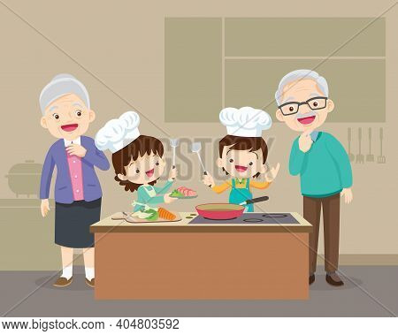 Lovely Grandparent With Grandchild Boy And Girl Cooking In Kitchen,happy Family With Grandparent And