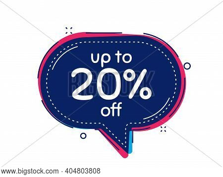 Up To 20 Percent Off Sale. Thought Bubble Vector Banner. Discount Offer Price Sign. Special Offer Sy
