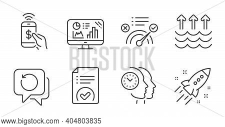 Correct Answer, Analytics Graph And Time Management Line Icons Set. Phone Payment, Startup Rocket An