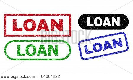 Loan Grunge Watermarks. Flat Vector Grunge Watermarks With Loan Text Inside Different Rectangle And