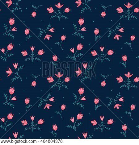 Floating Floral Foliage Folk Style Vector Seamless Pattern. Stylized Garden Flower Motif Print On Co