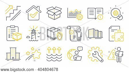 Set Of Industrial Icons, Such As Technical Info, Parcel Checklist, Stairs Symbols. Open Box, Innovat