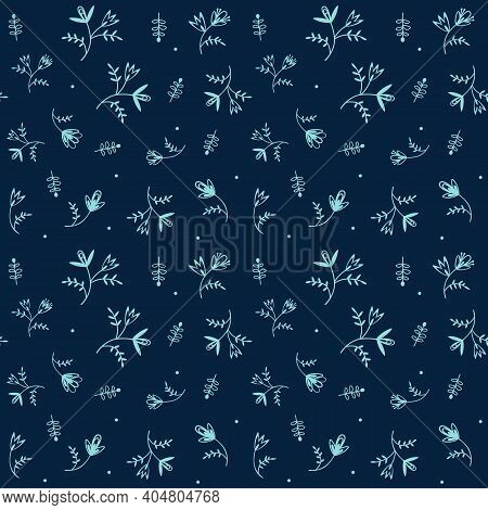 Floating Florals Foliage Folk Style Vector Seamless Pattern. Stylized Garden Flower Motif Print On C