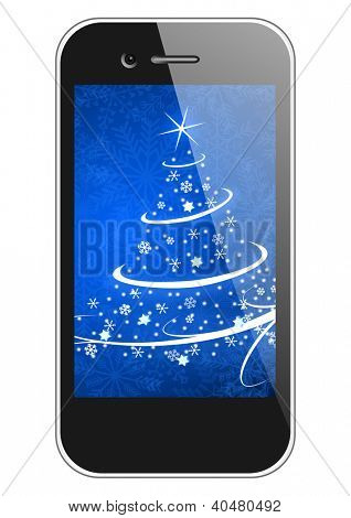 moblie phone with christmas tree wallpaper christmas illustration