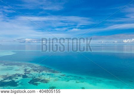 Summer Seascape Beautiful Blue Sea Water In Sunny Day. Sea Aerial View, Amazing Tropical Nature Back