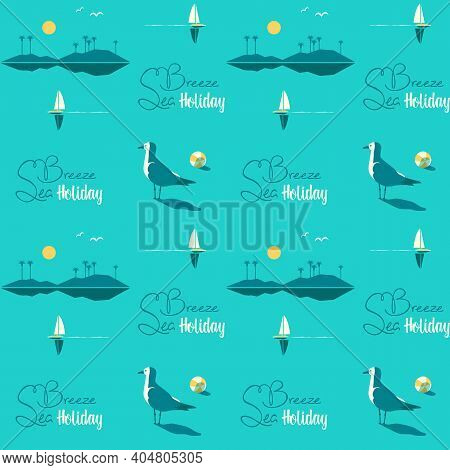 Beautiful Beach Landscape Seamless Vector Pattern. Tropical Island Scene Cartoon White Background. H