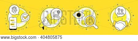 Sun Energy, Coronavirus Statistics And Coronavirus Pills Line Icons Set. Cell Phone, Megaphone And D