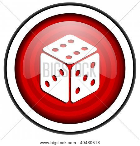 dice red glossy icon isolated on white background