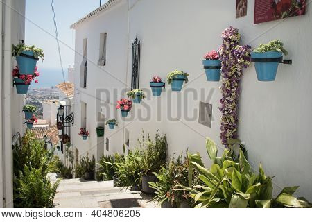 Scenic Street Of Mijas With Flower Pots In Facades. Andalusian White Village