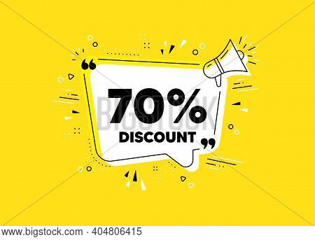 70 Percent Discount. Megaphone Yellow Vector Banner. Sale Offer Price Sign. Special Offer Symbol. Th