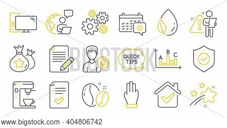 Set Of Line Icons, Such As Security Shield, Travel Calendar, Approved Checklist Symbols. Person Idea